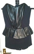 ASOS Black Faux Vegan LEATHER PU Shorts DRESS S uk8eu34/6us4 Chest c30ins c76cms