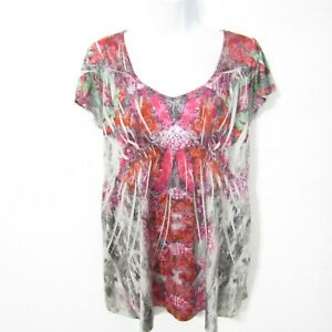 Energe Blouse Top Size PL Petite Large Pink multi Short sleeve Stretch