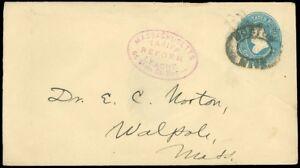 1887c BOSTON MASS Double Oval Cancel, mass TARIFF REFORM LEAGUE Handstamp on PSE
