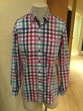 Casa Moda Camisa De Hombre Talla M 39/40 Bnwt Azul Verde Rosa Cuadros Rrp £ 49.50 ahora £ 22