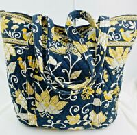 Vera Bradley XL Tote Yellow Bird Black Yellow Quilted Cotton 8 Pockets