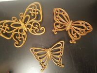 Vintage Butterflies HOMCO Faux Wood Wicker Wall Decor Plaques  Set of 3   E