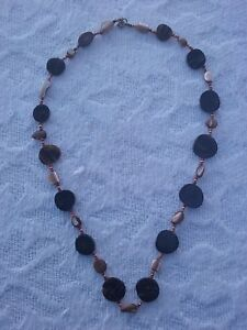 "NECKLACE - UN-MARKED 28"" -COIN SHAPED BEADS"