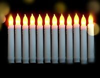LED Taper Candles, Battery Operated With Timer Wax Dripped Amber Flickering