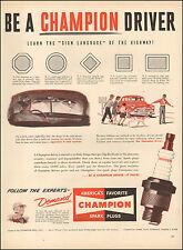 1950 Vintage ad for Champion Spark Plugs`Art retro Cars (030517