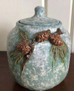 Ephraim Pottery Acorn Vase Signed Jar Lidded Pot Arts Crafts Style Becky Hansen