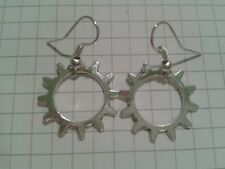TIBETAN SILVER FANTASTIC HOLLOW COG+ SPIKES EARRINGS.ON SILVER PLATED HOOKS
