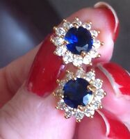 24K Yellow Gold Sapphire and Diamond Stud Earrings                313