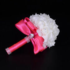 Crystal Roses Pearl Bridesmaid Wedding Party Bouquet Bridal Silk Flowers Holding