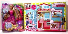 LOT 2 - Barbie 4 Rooms 2 STORY HOUSE w/ Furniture 2 + Barbie Endless Hair Doll