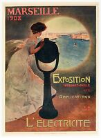 Affiche Originale - Mario Pezilla - Marseille - Exposition Internationale - 1908