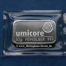 Silberbarren 50 Gramm Umicore 999 Feinsilber 50 g silverbar 50g