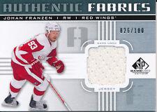 2011/12 SP Game Used AF-JF Johan Franzen Authentic Fabrics Insert (026/100)