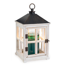 HOLZ Laterne Kerzenwärmer für Duftkerzen im Glas washed white