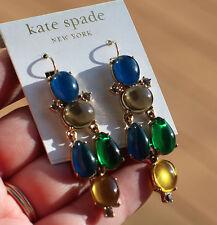 """KATE SPADE """"ETRUSCAN FANTASY"""" DROP CHANDELIER EARRINGS NWT BLUE EMERALD GREEN"""