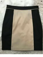 FREE SHIPPING. NEW Dana Buchman Sz 8 Straight Pencil Skirt. Black w/ Tan Front