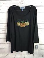 Karen Scott Blouse Shirt Plus Sz 2X Halloween Gold 3 Pumpkins Bling Studded NWT