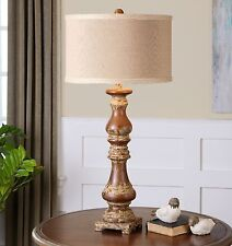 """FARMHOUSE 34"""" ANTIQUED TURNED SOLID WOOD TABLE BUFFET LAMP BURLAP LINEN SHADE"""