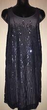 MONSOON NAVY JOSEPHINE SEQUIN SPARKLE COCKTAIL 20'S GATSBY XMAS PARTY DRESS 14