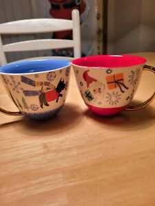Anthropologie Emily Isabella HOLIDAY SPIRIT  Schnauzer and Santa Mugs/ Cups