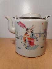 Théière chinoise ancienne porcelaine Chine 19 siècle décor personnage
