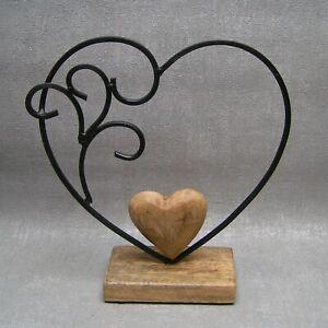 Gilde Deko Herz groß Metall schwarz mit Mangoholz