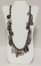 CHICO'S Ribbon Wrapped Faux Pearl Chunky Silver And Purple Dangle Beads Necklace