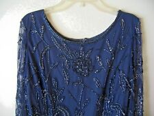 PIZARRO NIGHTS BEADED and SEQUINED BLUE MESH DRESS – Size 10
