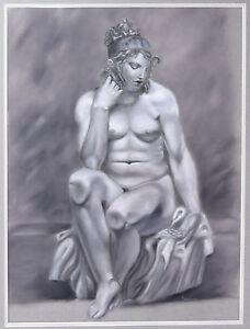 Trompe L'oeil Pastel Drawing Voluptous Nude w Knees Pressed Against Viewer Plane