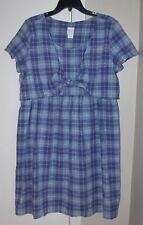 Vintage Garnet Hill Gale River USA Made Blue Plaid Nursing Dress, Sz. Medium