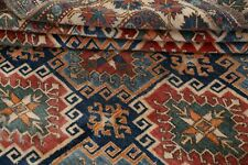 Vintage Near Square Geometric Kazak Afghan Oriental Area Rug Hand-knotted 6x7 ft