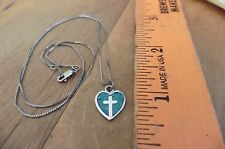 "Vintage heart cross turquoise pendant necklace Sterling Silver 925 19"" box chain"