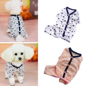 Pet Dog Pajamas Costume Cartoon Cotton Clothes Puppy Jumpsuit Apparel Jacket UK