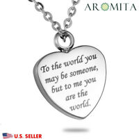 You are My World Heart Cremation Jewelry Ashes Keepsake Memorial Urn Necklace