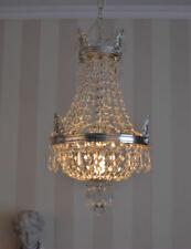 Antique silver chandelier crystal ceiling lamp candelabra lustre basket vintage