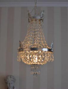 Lustre plafonnier pampilles cristal montgolfière argente corbeille panier laiton