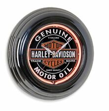 "Harley-Davidson Oil Can Red Neon Gun Metal Round Wall Clock 14.25"" HDL-16617 NEW"