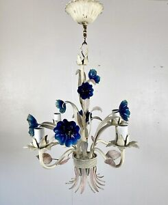 Vintage Continental Italian Toleware Chandelier Ceiling Lamp Light Retro Blue