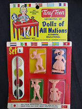 VINTAGE 1960 JAK-PAC TINY TEEN DOLLS OF ALL NATIONS TOY PAINT CRAFT SET w INDIAN
