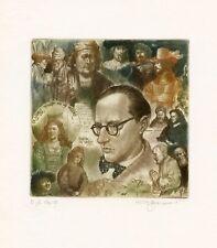 Hommage a Theun de Vries Dutch Writer, Ex libris Etching by David Bekker Ukraine