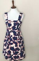 Land's End Size 4 Navy Blue Red White Floral Sleeveless Dress Women's