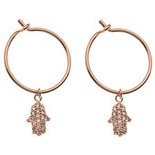 Orelia Rose Gold Hoop Earrings & Crystal Hamsa charm Cubic Zirconia & gift bag