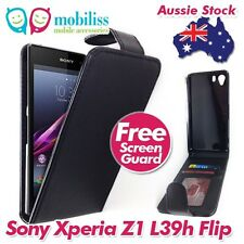 Sony Xperia Z1 L39h PU Leather Flip Case Cover with Wallet Card Holders Black
