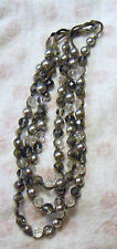 Gray Bohemian Glass Beads Bib Necklace, 3 Strands Crystals & Silk Woven Knotted