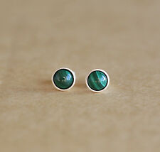 925 Sterling Silver Stud Earrings With 6 Mm Natural Malachite Gemstones