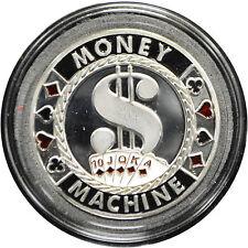 Casino Poker Card Guard Cover Protector MONEY MACHINE silver color