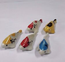 5 Fancy Carp Fish Tiny Dollhouse Animal Ceramic Miniature Collectible Figurines