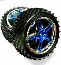 06026 1/10 Scale RC Buggy Rear Off Road Wheels and Tyres Blue Chrome Plastic x 2