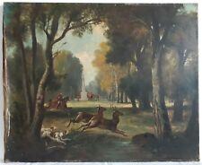 Tableau ancien huile sur toile paysage chasse à courre cavaliers ROLLION XIXème