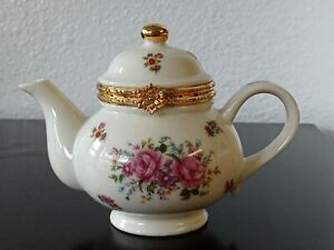 Formalities by Baum Bros Mini Teapot Trinket Box Gold Trim Pink Floral